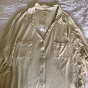 Urban Outfitters loose button down shirt, cream
